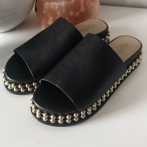 Never worn gold beaded platform black slide